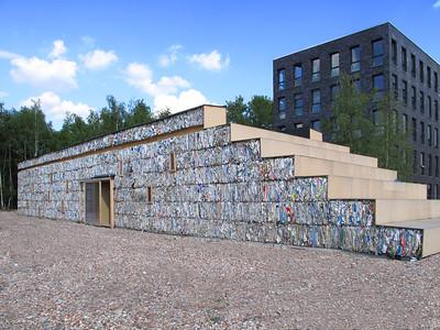 Experimentalbau aus Altpapierballen in Essen (D) 2010, Dratz & Dratz Architekten