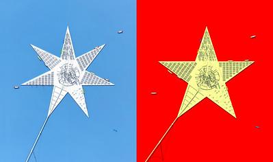 Superharbour (2003), Entwurf, PLOT. Die Form der Insel in Anlehnung an das Logo der Reederei MAERSK und der Entwurf für den Red Star Harbour (2006), Provinz Quangxi