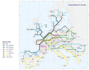 22 Schematische Darstellung eines Energienetzwerks für Europa, »Roadmap 2050« der European Climate Foundation (ECF)