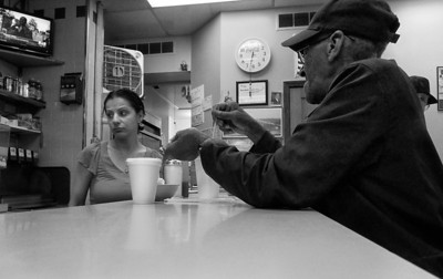 man and waitress eastern market diner