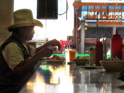 cowboy in diner in eastern market