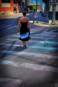 Woman with flowing dress in Detroit