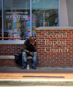 Homeless man in Detroit