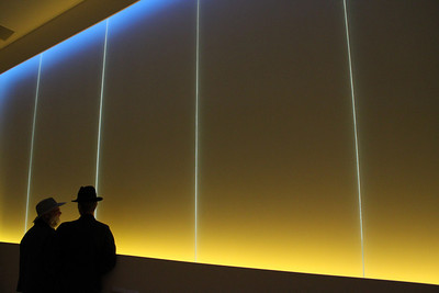 """Scientist Dirk Lummerzheim and composer John Luther Adams in """"The Place Where You Go To Listen,"""" a room of their co-operative design at University of Alaska Fairbanks that translates realtime ecological data into music and light—no one moment in this room is ever the same experience."""