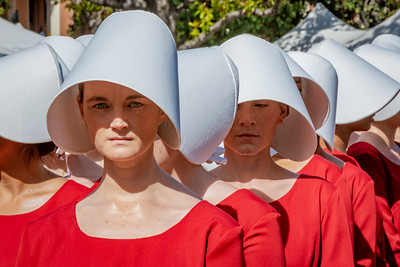 LA Times Festival of Books - Handmaids from the Hulu show The Handmaid's Tale, originally penned by novelist Margaret Atwood.
