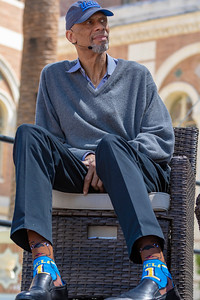 Kareem Abdul Jabbar repping his UCLA Bruin pride while at USC for LA Times Festival of Books