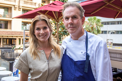 Ali Larter and Chef Thomas Keller pose for a shot during Soirée Poulet, the final event of the LA Times Food Bowl.