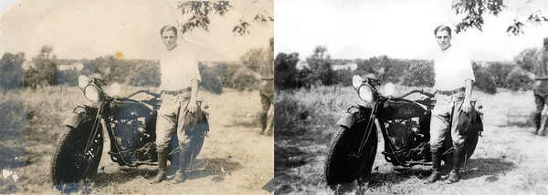 "Restoration Request: ""Grandfather with his Indian Motorcycle. Unfortunately, someone in the past laminated this photo and it has parts of it that have air bubbles under the lamination (as can be seen by the lighter portions of photo)."""