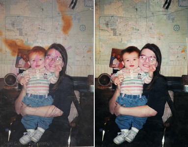 "Restoration request: ""Help me fix this photo of my Mom and I? I ruined it as a child, and I think it'd be a great gift for her 40th to return it fixed."""