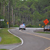 Gulf County Sheriffs Deputy diverting traffic from Cape San Blas Road.