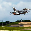 An F-16C from the 18th Aggressor Squadron, Eielson AFB, Alaska taking off in support of Exercise Valiant Shield 2020 at Andersen AFB, Guam.