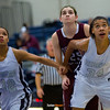 Dowling senior center Luci Sarcone, Roosevelt junior forward Julanie Carter, Roosevelt junior center Meredith Burkhall