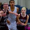 Roosevelt junior center Meredith Burkhall, Dowling junior forward Audrey Faber, Dowling junior guard Cali Anderson