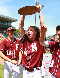 Joey Verstegen (#34) celebrates his five-inning no-hitter and Newman's state title at the Class 1A State Championship at Principal Park in Des Moines, Iowa on Saturday, August 1, 2015. (Photo by Dylan Heuer/Iowa Cubs)