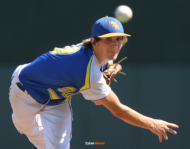 MSTM starter Tanner Foster pitches during the first inning in a Class 1A Semifinals game at Principal Park in Des Moines, Iowa on Thursday, July 30, 2015. (Photo by Dylan Heuer/Iowa Cubs)