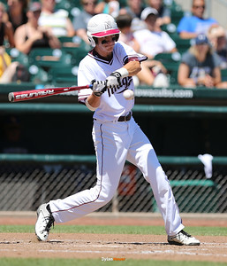 Newman's Blake Forthmann hits a two-run single during the fifth inning in a Class 1A Semifinals game at Principal Park in Des Moines, Iowa on Thursday, July 30, 2015. (Photo by Dylan Heuer/Iowa Cubs)