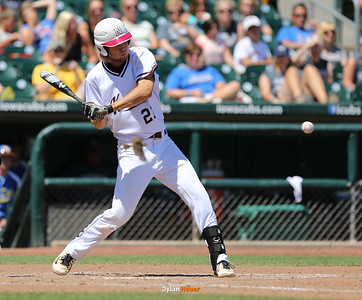Newman's Kaden Wadle hits an RBI double during the fifth inning in a Class 1A Semifinals game at Principal Park in Des Moines, Iowa on Thursday, July 30, 2015. (Photo by Dylan Heuer/Iowa Cubs)
