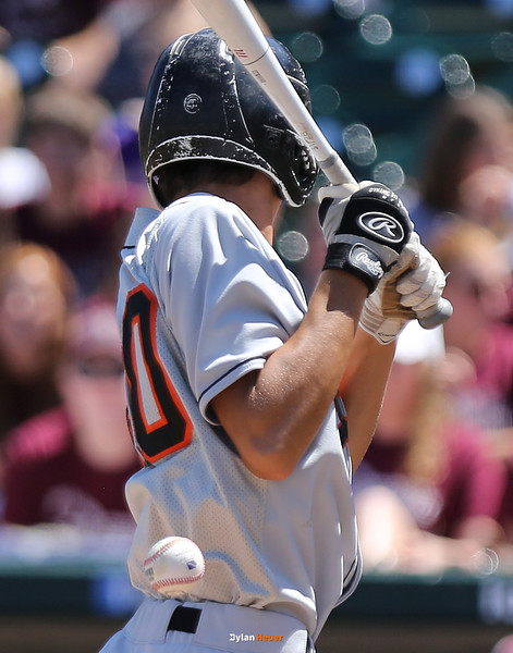 Pleasantville's Zeb Adreon is hit by a pitch during the third inning in a Class 1A Semifinals game at Principal Park in Des Moines, Iowa on Thursday, July 30, 2015. (Photo by Dylan Heuer/Iowa Cubs)
