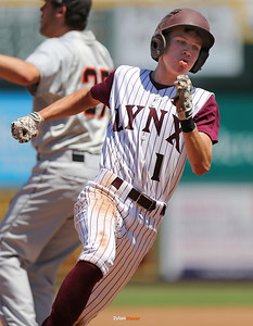 North Linn's Jake Hilmer rounds third base to score during the third inning in a Class 1A Semifinals game at Principal Park in Des Moines, Iowa on Thursday, July 30, 2015. (Photo by Dylan Heuer/Iowa Cubs)