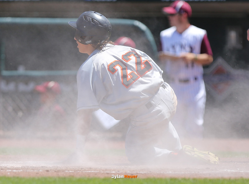 Pleasantville's Nash Rechkemmer scores a run during the second inning in a Class 1A Semifinals game at Principal Park in Des Moines, Iowa on Thursday, July 30, 2015. (Photo by Dylan Heuer/Iowa Cubs)