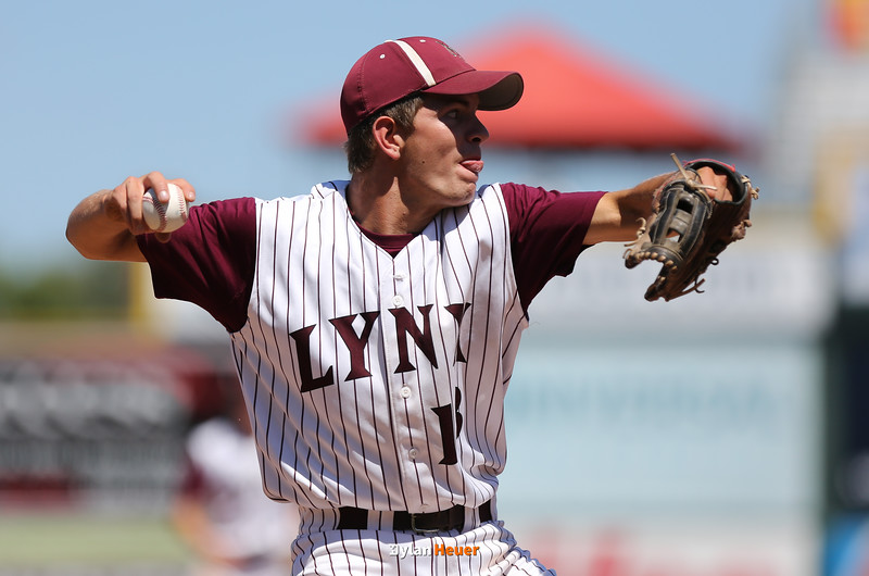 North Linn third baseman Clinton Prier throws to first base for an out during the fourth inning in a Class 1A Semifinals game at Principal Park in Des Moines, Iowa on Thursday, July 30, 2015. (Photo by Dylan Heuer/Iowa Cubs)