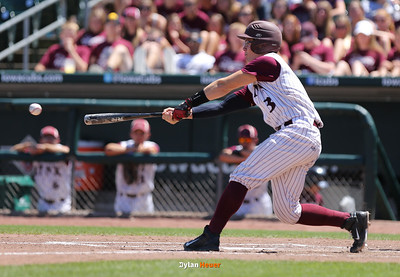 North Linn's Jacob Rawson hits an RBI single during the third inning in a Class 1A Semifinals game at Principal Park in Des Moines, Iowa on Thursday, July 30, 2015. (Photo by Dylan Heuer/Iowa Cubs)