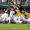 Clear Lake celebrates their 11-1 victory over Columbus after the Class 2A State Championship at Principal Park in Des Moines, Iowa on Saturday, August 1, 2015. (Photo by Dylan Heuer/Iowa Cubs)
