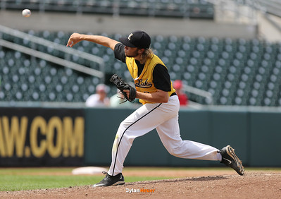 Clear Lake starter Brock Adams delivers the final pitch of the Class 2A State Championship at Principal Park in Des Moines, Iowa on Saturday, August 1, 2015. (Photo by Dylan Heuer/Iowa Cubs)