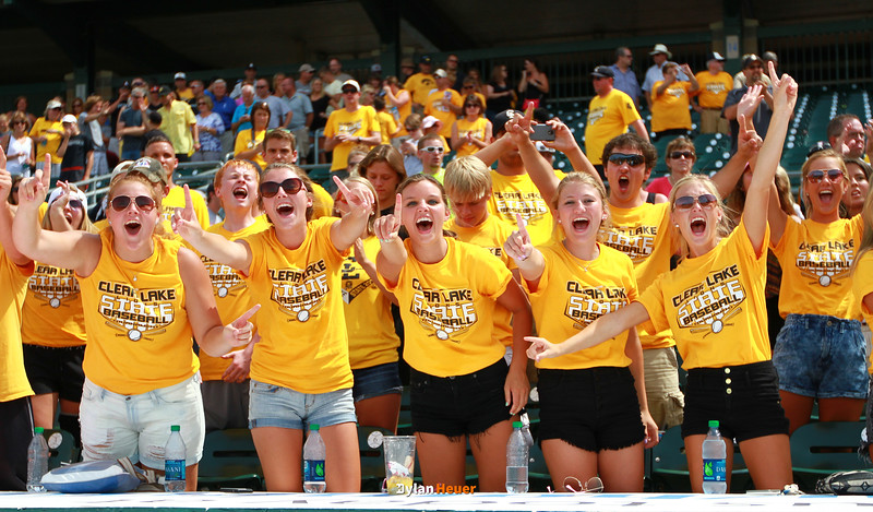 Clear Lake fans celebrate the Lion's 11-1 victory over Columbus after the Class 2A State Championship at Principal Park in Des Moines, Iowa on Saturday, August 1, 2015. (Photo by Dylan Heuer/Iowa Cubs)