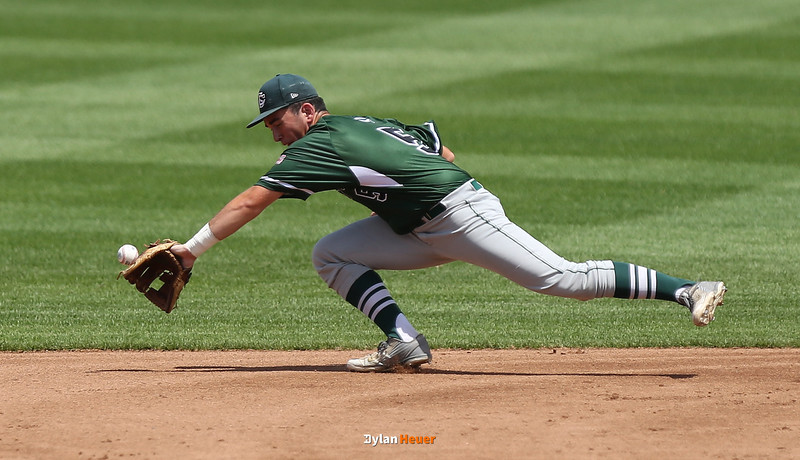 Columbus second baseman Francis Hart cannot field a grounder during the first inning in the Class 2A State Championship at Principal Park in Des Moines, Iowa on Saturday, August 1, 2015. (Photo by Dylan Heuer/Iowa Cubs)