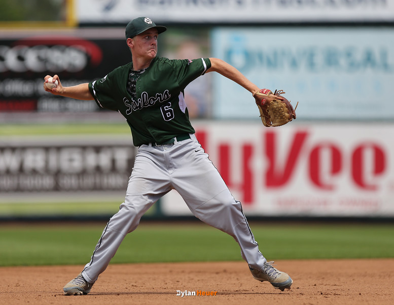 Columbus shortstop Henry Walters throws to first base during the second inning in the Class 2A State Championship at Principal Park in Des Moines, Iowa on Saturday, August 1, 2015. (Photo by Dylan Heuer/Iowa Cubs)