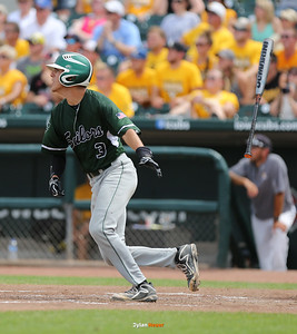 Columbus' Lucas Benda hits into an error during the fourth inning in the Class 2A State Championship at Principal Park in Des Moines, Iowa on Saturday, August 1, 2015. (Photo by Dylan Heuer/Iowa Cubs)
