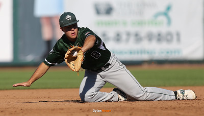 Columbus shortstop Luke Farley fields a grounder during the second inning in a Class 2A Semifinals game at Principal Park in Des Moines, Iowa on Thursday, July 30, 2015. (Photo by Dylan Heuer/Iowa Cubs)