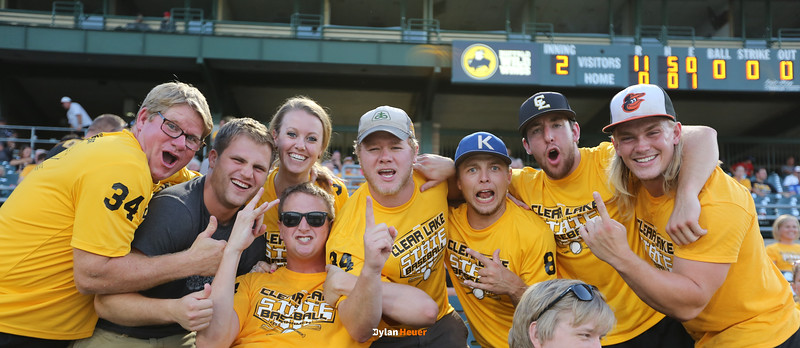 Clear Lake fans pose for a photo during the second inning in a Class 2A Semifinals game at Principal Park in Des Moines, Iowa on Thursday, July 30, 2015. (Photo by Dylan Heuer/Iowa Cubs)