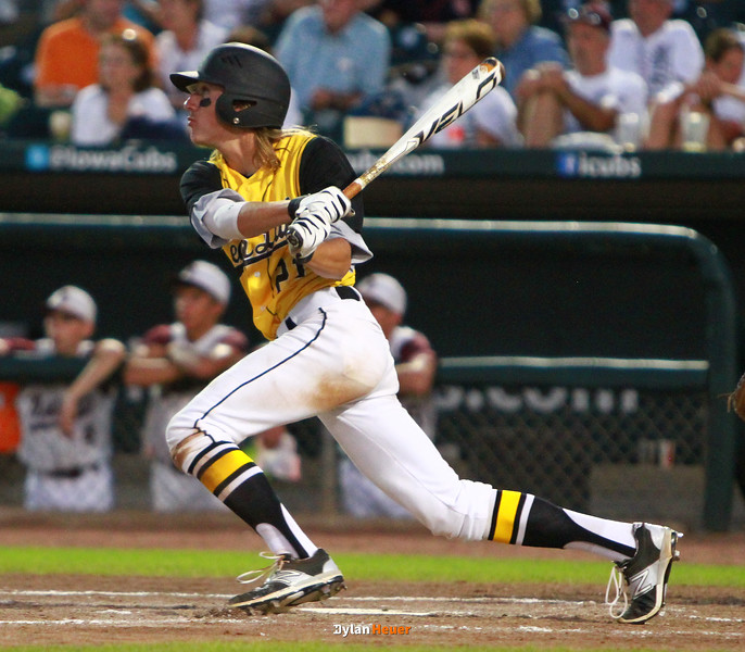 Clear Lake's Parker Truesdell hits an RBI single during the third inning in a Class 2A Semifinals game at Principal Park in Des Moines, Iowa on Thursday, July 30, 2015. (Photo by Dylan Heuer/Iowa Cubs)