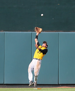 WSR centerfielder Jake Velky catches a fly ball during the fourth inning in the Class 3A State Championship at Principal Park in Des Moines, Iowa on Saturday, August 1, 2015. (Photo by Dylan Heuer/Iowa Cubs)