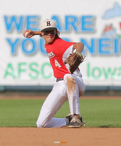 Harlan's Brett Sears, an eight-grader, throws to first base for an out during the third inning in the Class 3A State Championship at Principal Park in Des Moines, Iowa on Saturday, August 1, 2015. (Photo by Dylan Heuer/Iowa Cubs)