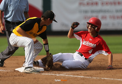Harlan's Brett Sears, an eighth grader, is out at third base by WSR's Dalton Steere during the second inning in the Class 3A State Championship at Principal Park in Des Moines, Iowa on Saturday, August 1, 2015. (Photo by Dylan Heuer/Iowa Cubs)
