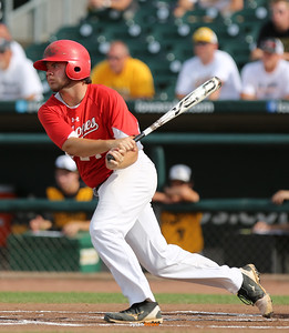 Harlan's Brett Croghan hits into a fielder's choice during the first inning in the Class 3A State Championship at Principal Park in Des Moines, Iowa on Saturday, August 1, 2015. (Photo by Dylan Heuer/Iowa Cubs)