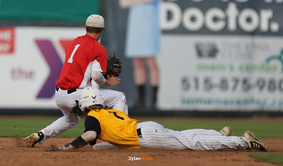 WSR's Dalton Graven is safe at second base ahead of Harlan shortstop Dillon Sears during the fifth inning in the Class 3A State Championship at Principal Park in Des Moines, Iowa on Saturday, August 1, 2015. (Photo by Dylan Heuer/Iowa Cubs)