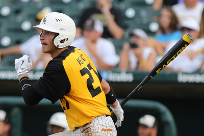 Jake Velky hits a two-run, walk-off double during the fifth inning to lift WSR to a 11-1 victory over Harlin in the Class 3A State Championship at Principal Park in Des Moines, Iowa on Saturday, August 1, 2015. (Photo by Dylan Heuer/Iowa Cubs)