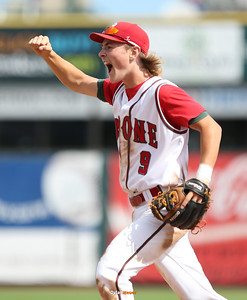 Second baseman Jackson Hull celebrates Boone's 9-1 victory over Sergeant Bluff-Luton after a Class 3A Quarterfinals game at Principal Park in Des Moines, Iowa on Wednesday, July 29, 2015. (Photo by Dylan Heuer/Iowa Cubs)