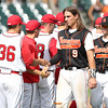 Sergeant Bluff-Luton's Spencer Wyant leads the postgame handshakes after a Class 3A Quarterfinals game at Principal Park in Des Moines, Iowa on Wednesday, July 29, 2015. (Photo by Dylan Heuer/Iowa Cubs)