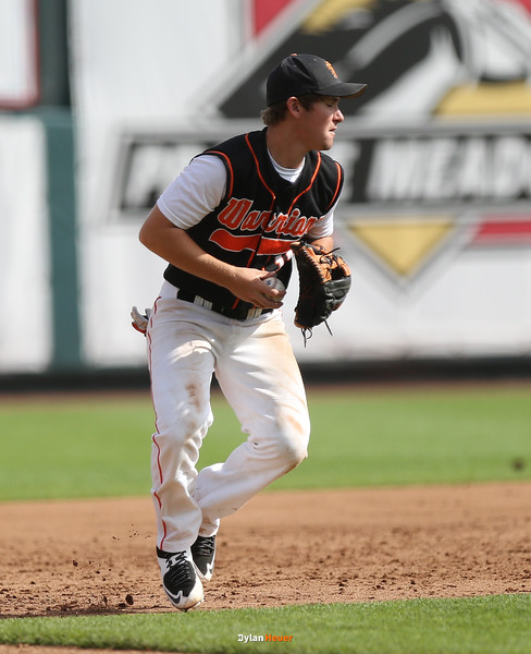 Sergeant Bluff-Luton third baseman Dylan Moore fields a grounder during the fifth inning in a Class 3A Quarterfinals game at Principal Park in Des Moines, Iowa on Wednesday, July 29, 2015. (Photo by Dylan Heuer/Iowa Cubs)