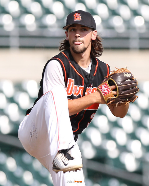 Sergeant Bluff-Luton reliever Connor Prescott pitches during the sixth inning in a Class 3A Quarterfinals game at Principal Park in Des Moines, Iowa on Wednesday, July 29, 2015. (Photo by Dylan Heuer/Iowa Cubs)