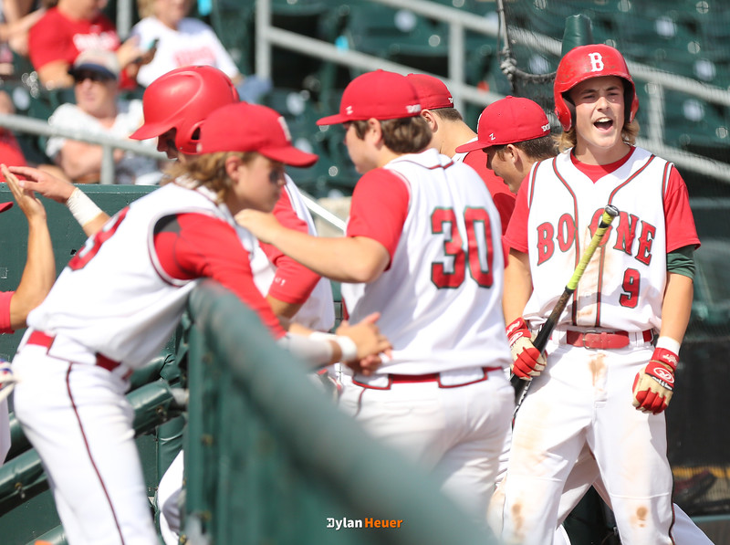 Boone's Jackson Hull (9) celebrates after he scored during the sixth inning in a Class 3A Quarterfinals game at Principal Park in Des Moines, Iowa on Wednesday, July 29, 2015. (Photo by Dylan Heuer/Iowa Cubs)