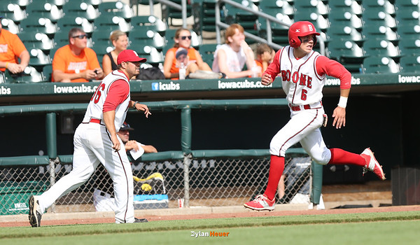 Boone's Danny Anderson rounds third base to score during the sixth inning in a Class 3A Quarterfinals game at Principal Park in Des Moines, Iowa on Wednesday, July 29, 2015. (Photo by Dylan Heuer/Iowa Cubs)