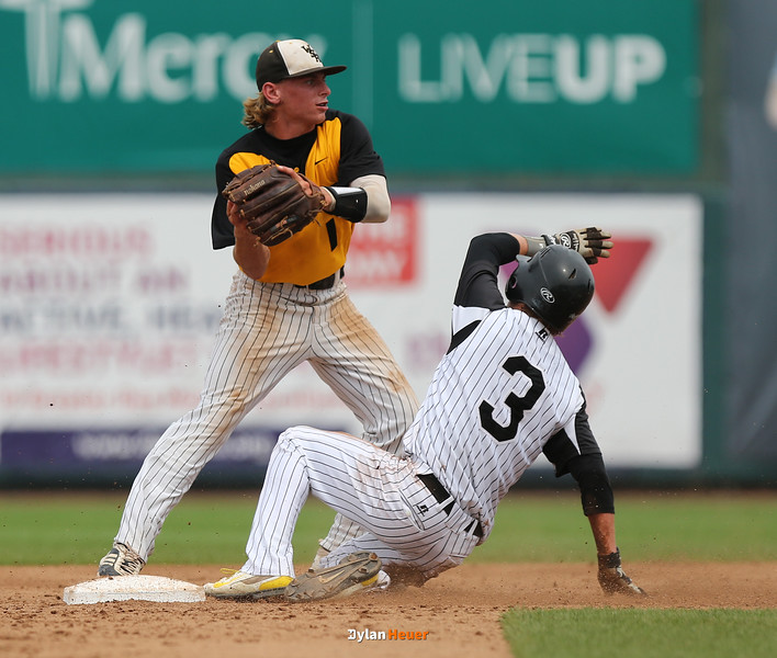 during the ## inning in a Class 3A Quarterfinals game at Principal Park in Des Moines, Iowa on Tuesday, July 28, 2015. (Photo by Dylan Heuer/Iowa Cubs)