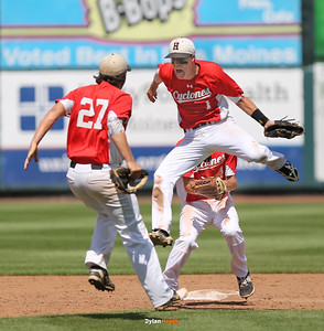 Dillion Sears (#1) and Brett Croghan celebrate Harlan's 6-5 victory over Pella after a Class 3A Semifinals game at Principal Park in Des Moines, Iowa on Friday, July 31, 2015. (Photo by Dylan Heuer/Iowa Cubs)