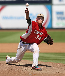 Harlan reliever Nick Tarney pitches during the seventh inning in a Class 3A Semifinals game at Principal Park in Des Moines, Iowa on Friday, July 31, 2015. (Photo by Dylan Heuer/Iowa Cubs)